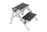 Double folding caravan step with lightweight aluminium frame