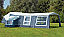 Camp-let Royal in acrylic is shown with optional awning extension, sun canopy and side annexe fitted