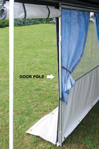Secure awning front wall when the door is open