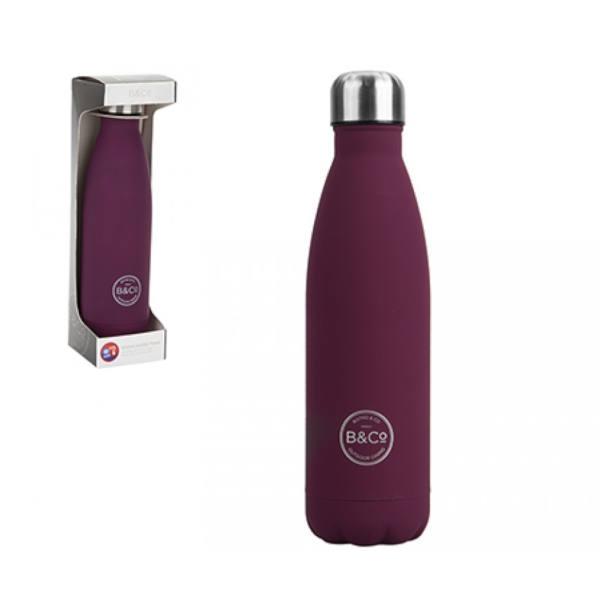 B&Co 500Ml Bottle Flask Rubberised Berry Finish