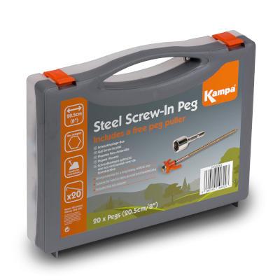 Kampa Steel Screw-in Peg Pack 20Pk