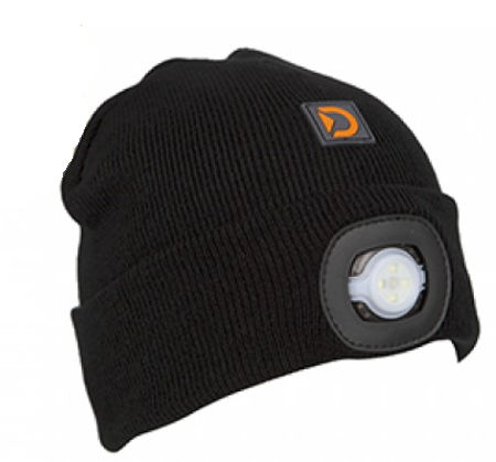 DA Adult Beanie with Light  - Black