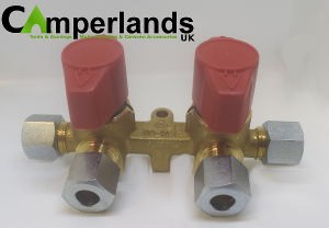 Caravan Motorhome Double Two Way Gas Manifold Valve With Taps 8mm