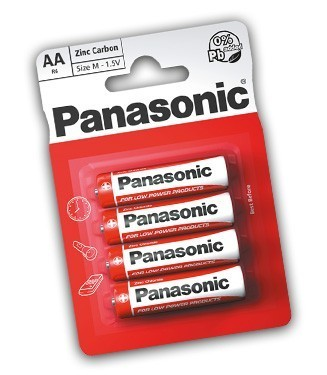 Panasonic R6 Size AA Zinc Carbon Batteries - 4 Pack