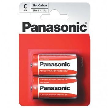 Panasonic R14 Size C Zinc Carbon Batteries - 2 Pack
