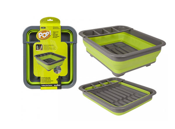 Pop! Dish Drainer With Draining System Lime/Grey