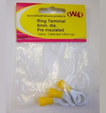 W4 Ring Terminal 8mm diameter Pre-insulated
