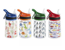 BPA Free Water Bottle & Lid 4 Assorted Designs for Kids 350ml