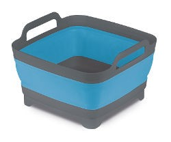 Collapsible Washing Bowl With Straining Plug - Blue