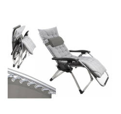 B&Co Shangri La Zero Gravity Chair,Side Table, Pillow Suede / Grey