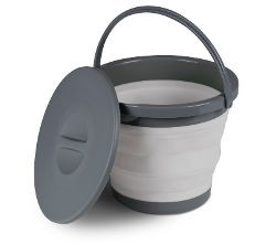 Kampa Silicone Bucket with Lid - 5L Grey