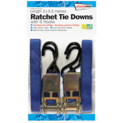 Streetwize 2 x 3.5m Ratchet Tie Down with S Hooks