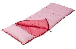 Sunncamp Pink Dotty Kids Sleeping Bag with Pillow