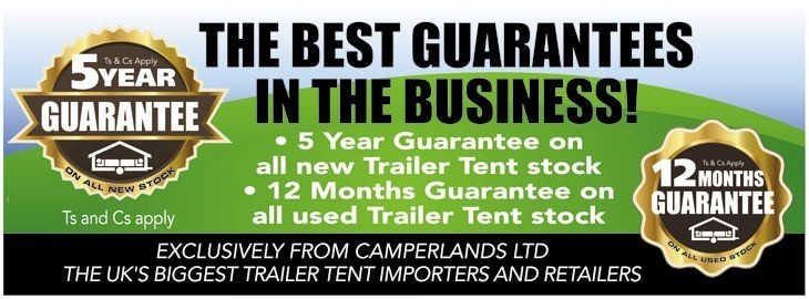 5 Year Gaurantee on all new Trailer Tents-  Exclusive to Camperlands