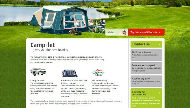 Screenshot of new Camp-let UK trailer tent website