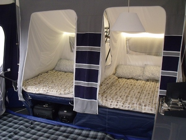 Fold the seat down to create 2 spacious double beds