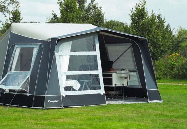 Apex roof allows extensions to be fitted to the front of the tent