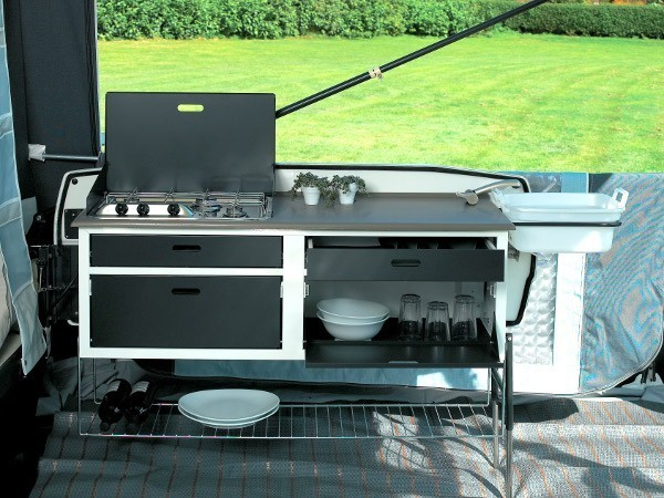 Deluxe kitchen with cutlery draws fitted to the Adventure and Premium