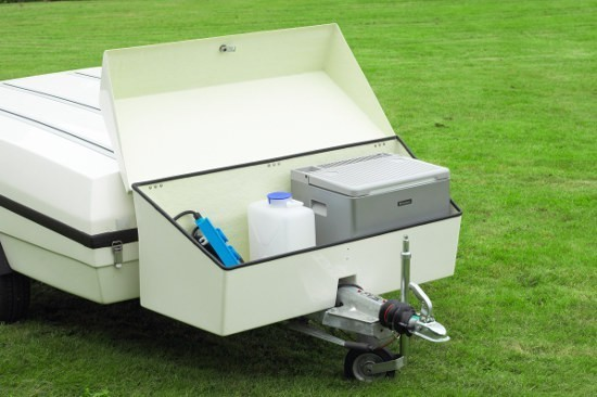 Larger front boxes are available to carry camping toilet or fridge