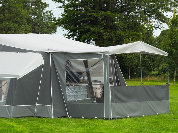 Optional canopy can be fitted with front and side wall for extra covered area