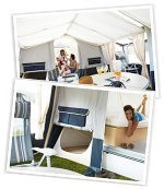 Light and airy awnings and under bed tent options in both Camplairs models