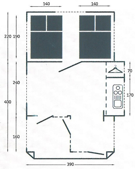 Dimensions for cabin and awning on Camplair XL Trailer Tent