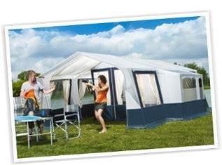 Camplair XL Trailer Tent with large family awning