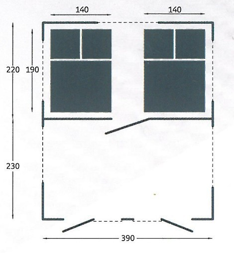 Dimensions for cabin and awning on Camplair S Trailer Tent