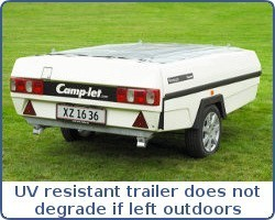 UV resistant trailer does not degrade or break down when left in the sun