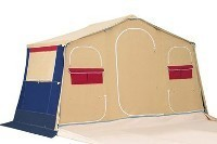 Trailer Tent Cabin erected for overnight stop