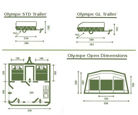 Trigano Olympe trailer tent specifications