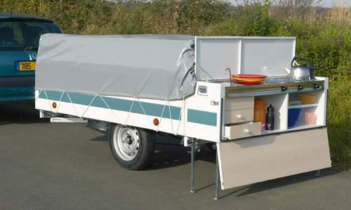 Rear kitchen that can be used without opening the trailer ideal for roadside stops & The Trigano Vendome is a the Largest Trigano Trailer Tent